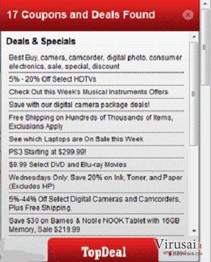 TopDeal virusas ekrano nuotrauka