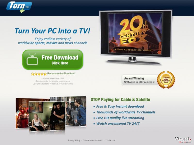 TornTV virusas ekrano nuotrauka