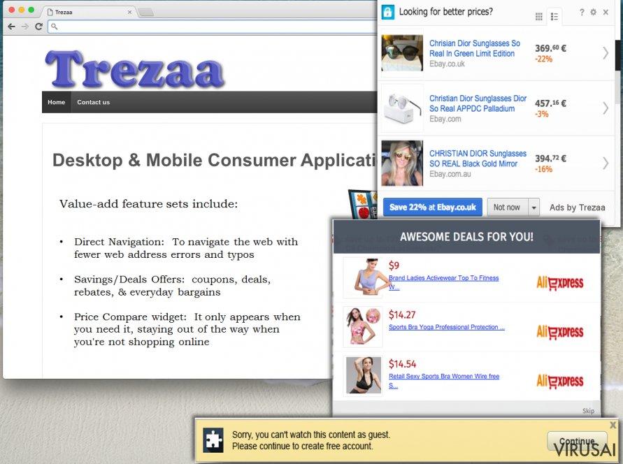Trezaa reklamos ekrano nuotrauka