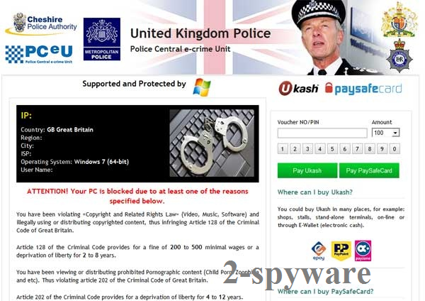 UK Police virus ekrano nuotrauka