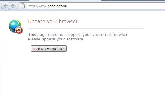 Update your browser ekrano nuotrauka
