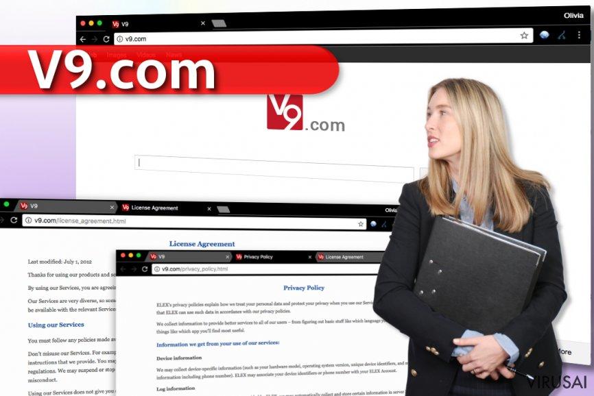 V9.com viruso pavyzdys bei rodomi paieškos rezultatai