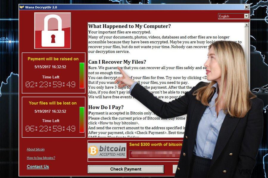 Wana Decrypt0r ekrano nuotrauka