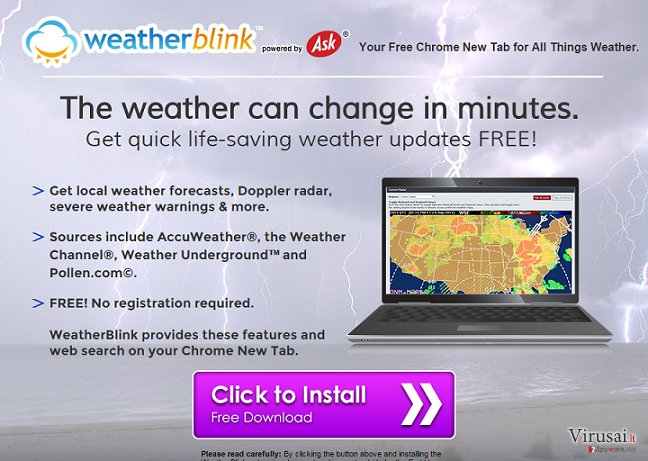 Weather Blink Toolbar ekrano nuotrauka