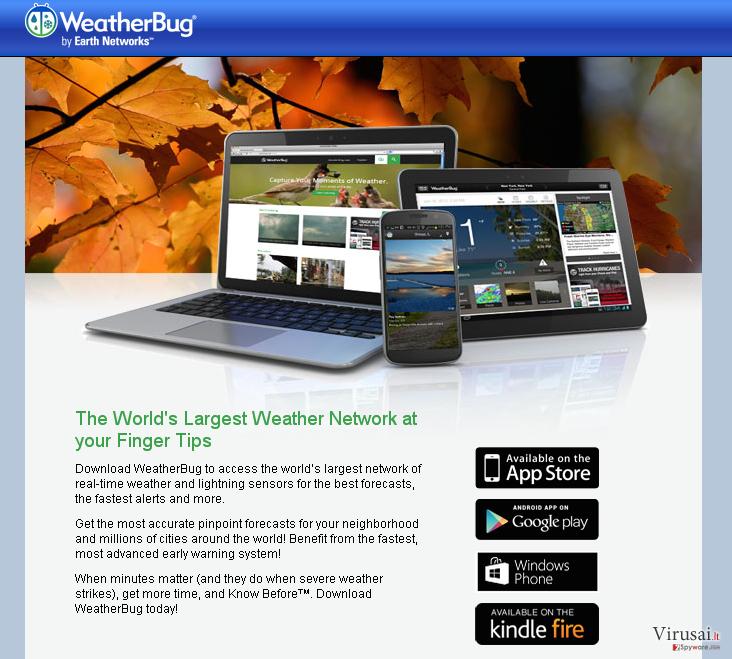 Weather Bug reklamos ekrano nuotrauka