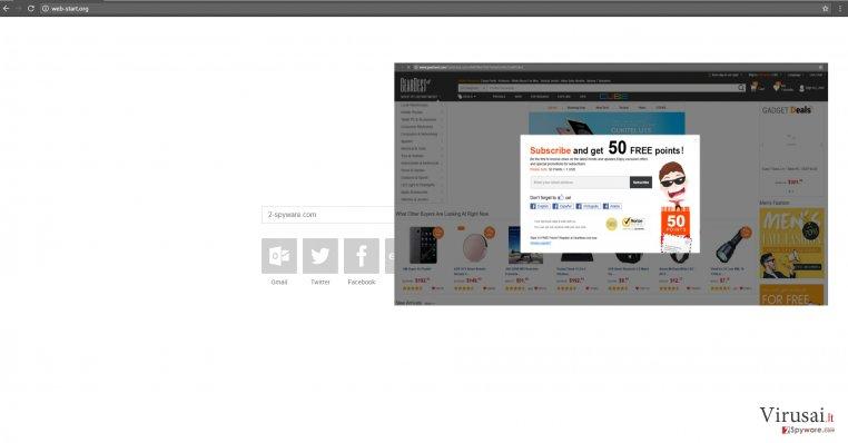 Web-start.org viruso pavyzdys