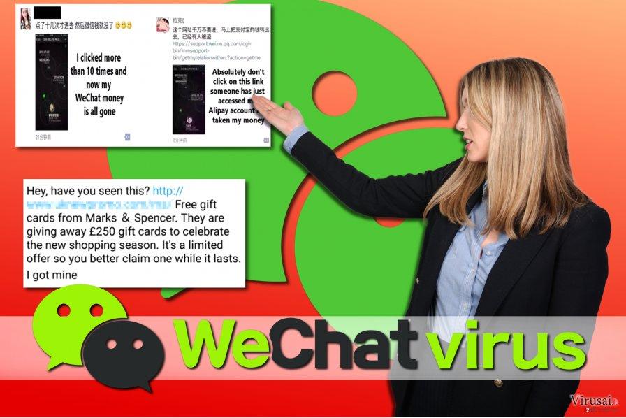 WeChat viruso pavyzdžiai
