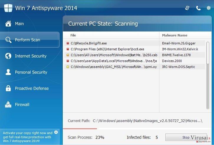 Win 7 Antispyware 2014 ekrano nuotrauka
