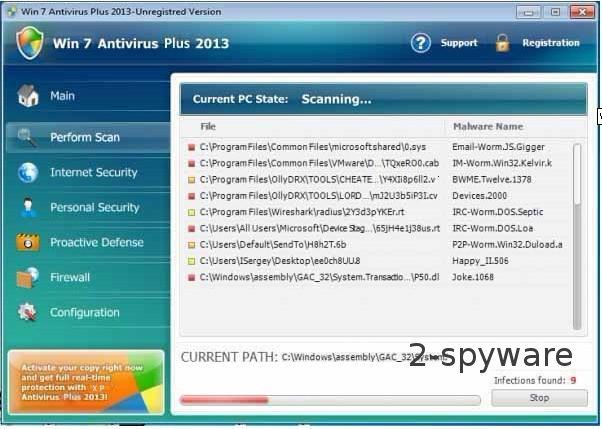 Win 7 Antivirus Plus 2013 ekrano nuotrauka