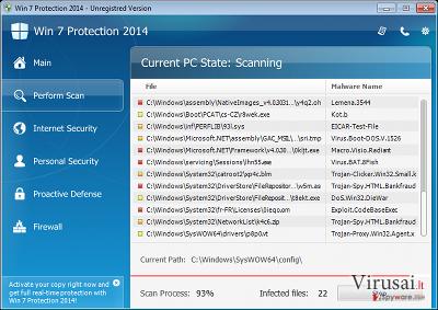 Win 7 Antivirus 2014 ekrano nuotrauka
