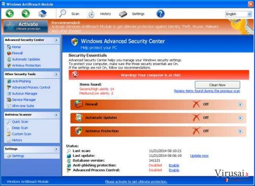 Windows AntiBreach Module ekrano nuotrauka