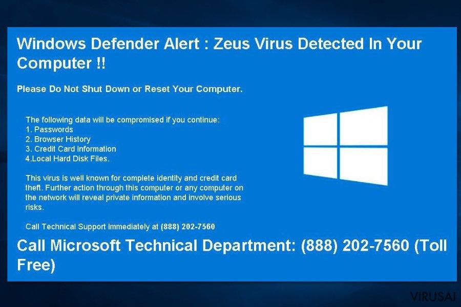 Windows Sefender įspėjimas
