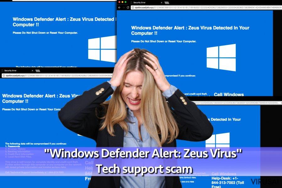 """Windows Defender Alert: Zeus Virus"" viruso iliustracija"