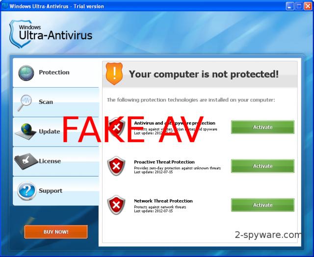 Windows Ultra Antivirus ekrano nuotrauka