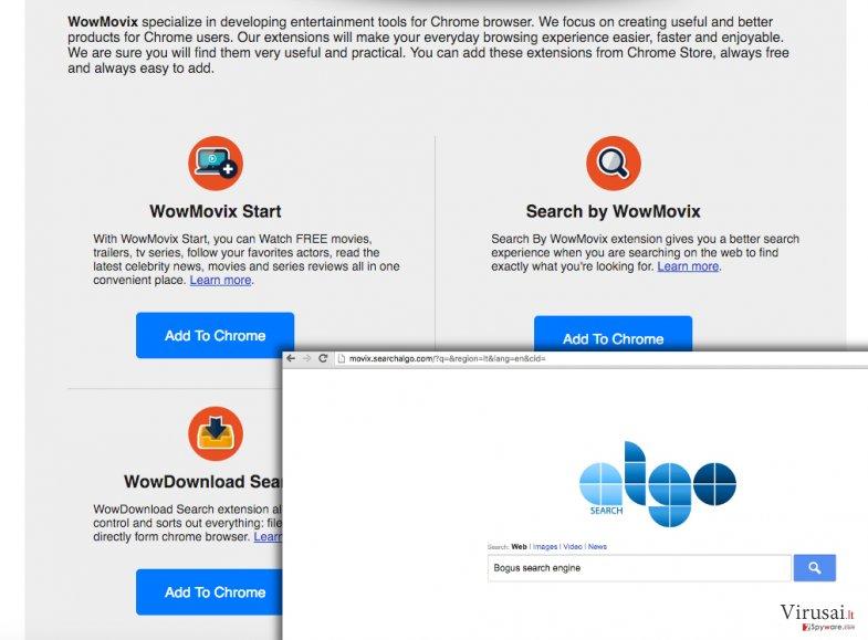 WowMovix virusas pateikia daug reklamų