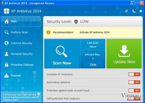 XP Antivirus 2014 ekrano nuotrauka