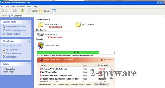 XP Micro Antivirus Online Scan ekrano nuotrauka
