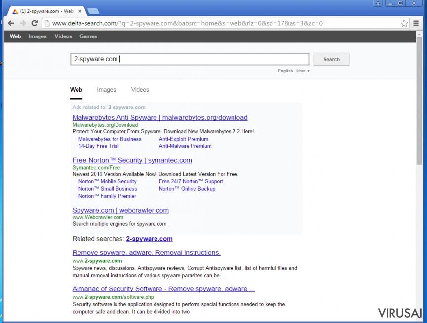 Yahoo Redirect virusas ekrano nuotrauka