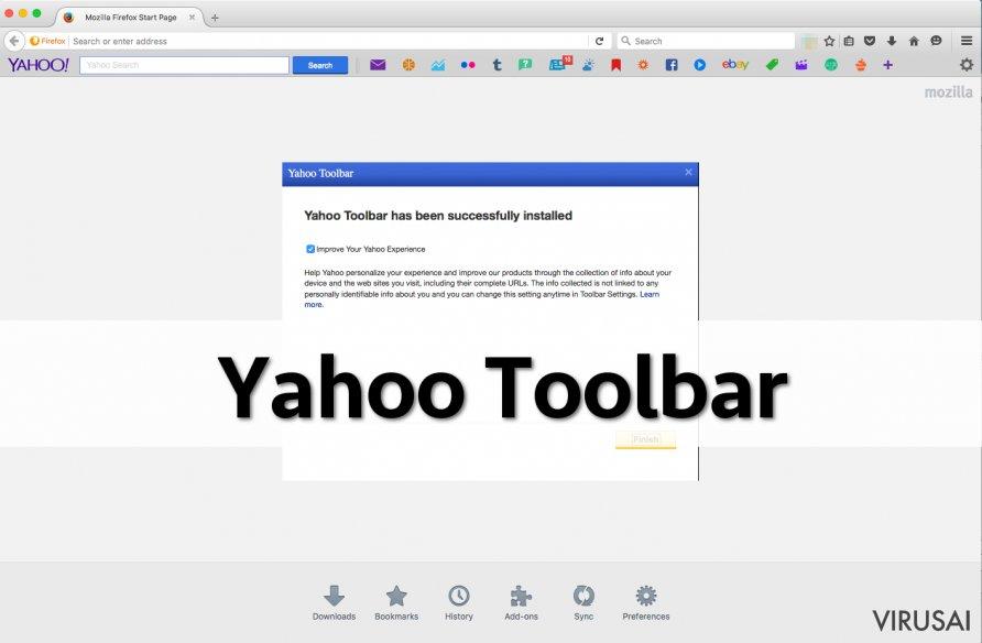 Yahoo įrankių juosta ekrano nuotrauka