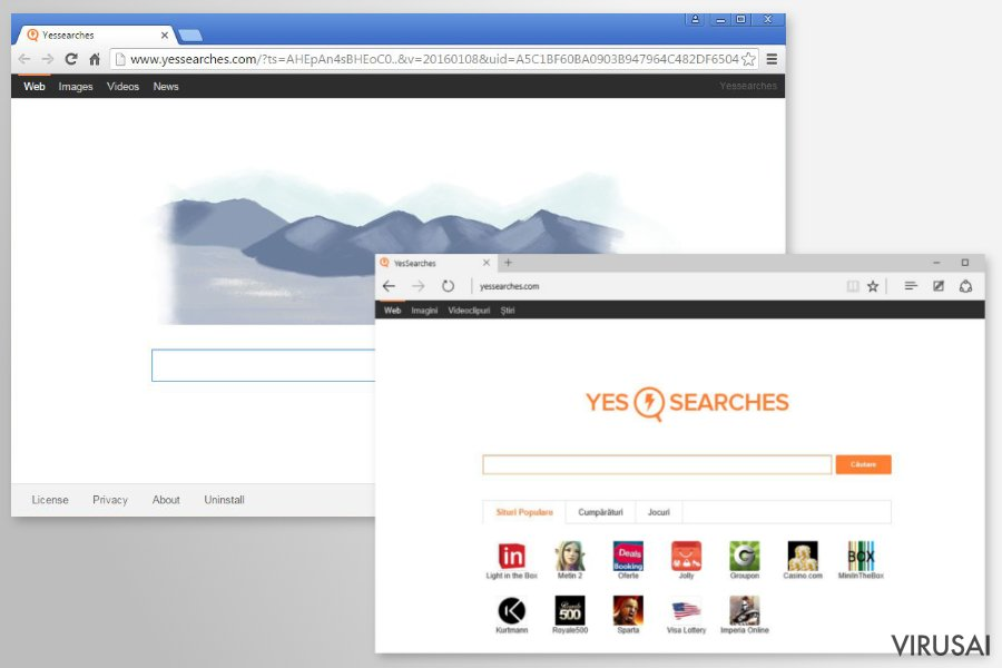 YesSearches.com peradresavimas ekrano nuotrauka