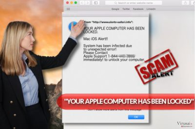 """""""YOUR APPLE COMPUTER HAS BEEN LOCKED"""" virusas"""