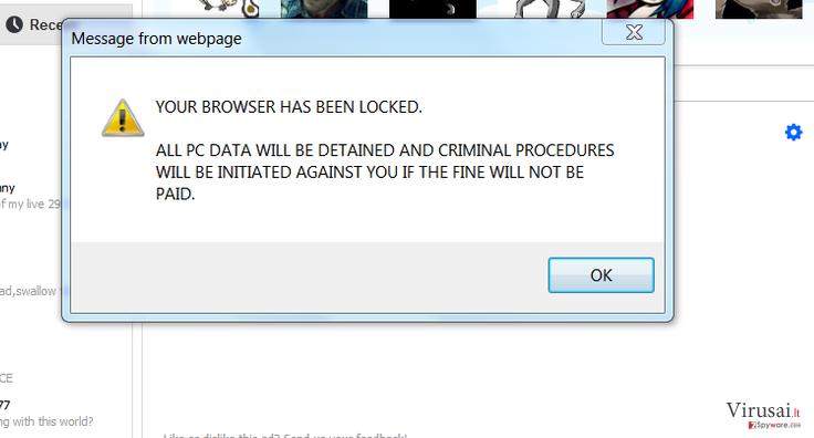 Your browser has been locked ekrano nuotrauka
