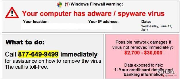 """""""Your computer has adware / spyware virus"""" pranešimas ekrano nuotrauka"""