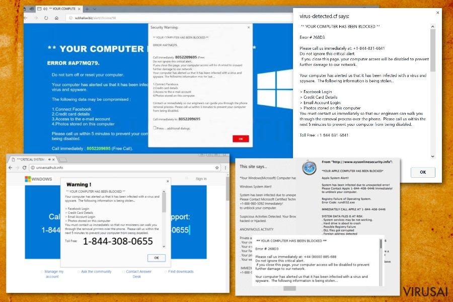 """""""Jūsų kompiuteris buvo užblokuotas"""" pranešimas ekrano nuotrauka"""