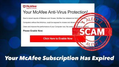 """Your McAfee Subscription Has Expired"" iššokantis langas"