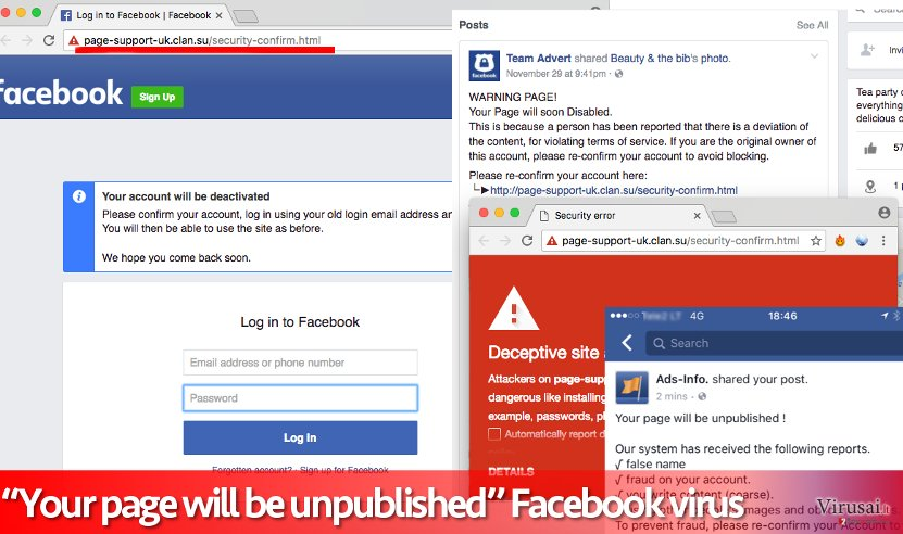 """Your page will be unpublished"" Facebook virus"