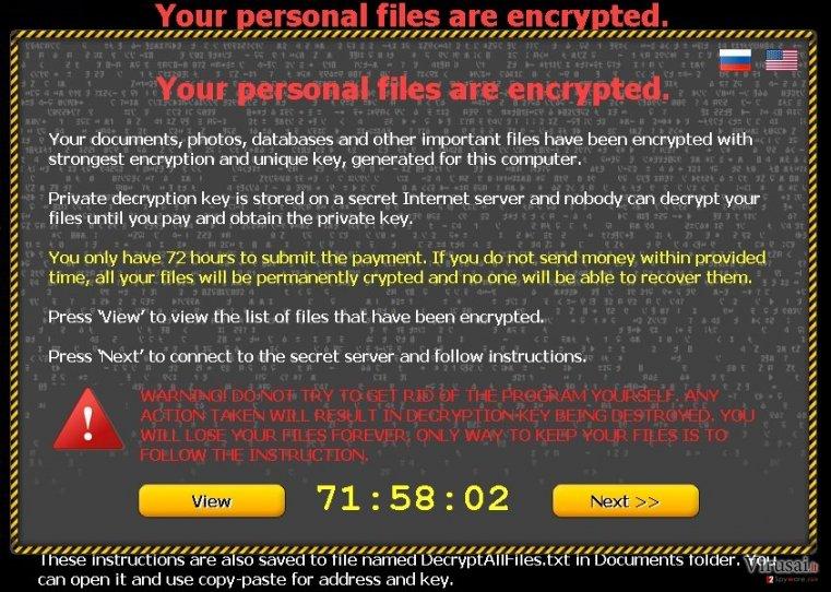 Your personal files are encrypted virusas ekrano nuotrauka