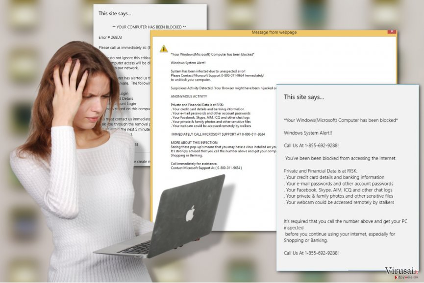 Your Windows (Microsoft) Computer has been blocked virusas ekrano nuotrauka