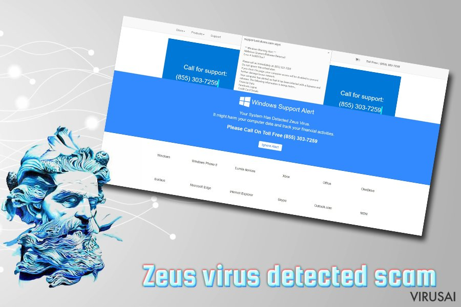 """Windows Defender Alert: Zeus Virus"" virusas ekrano nuotrauka"