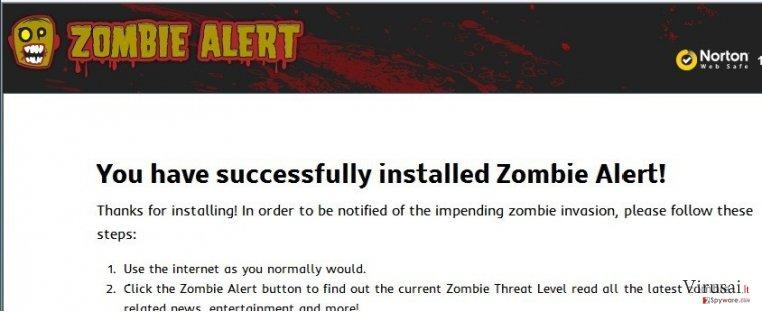Zombie Alert virusas ekrano nuotrauka
