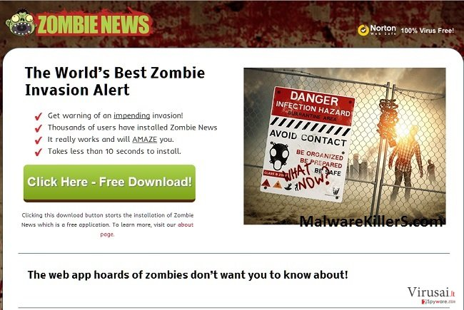 Zombie News virusas ekrano nuotrauka