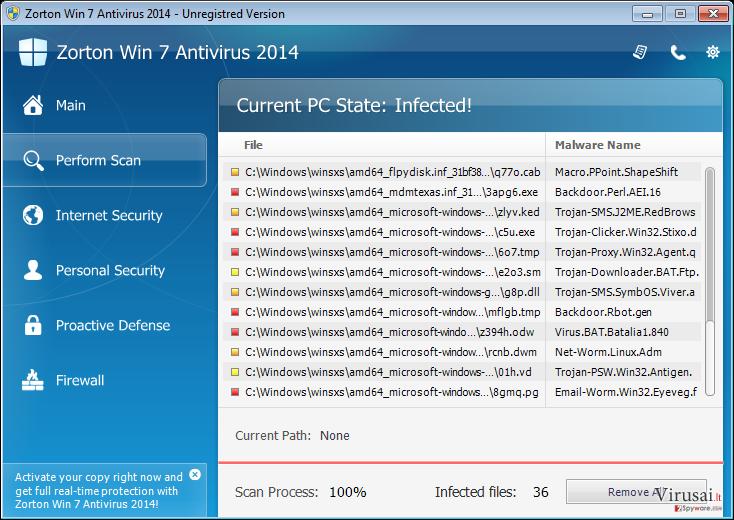 Zorton Win 7 Antivirus 2014 ekrano nuotrauka